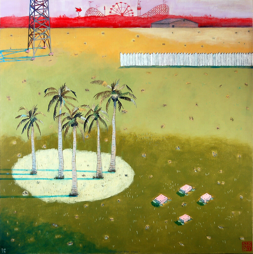 "Basically Sea Level , mixed media on panel 24""x24"", 2014"