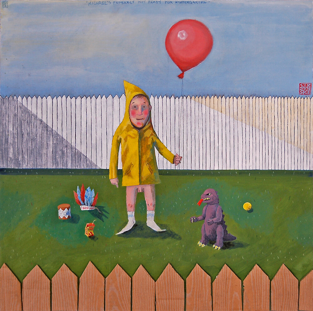 "Michael's Probably Not Ready For Kindergarten, acrylic graphite colored pencil and cardboard on panel 24x24"", 2014"