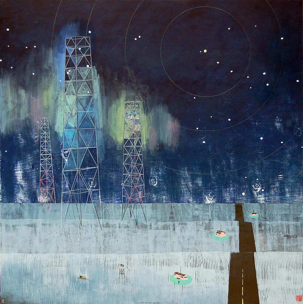 "Mid Latitude Auroras,  mixed media on panel 48""x48"", 2015 (sold)"