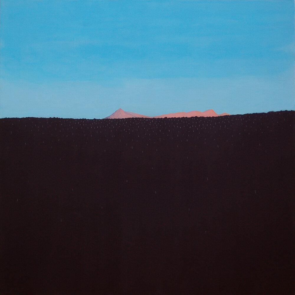 """Bear Lake Rd. III , charcoal and acrylic on panel 24""""x24"""", 2016 (sold)"""