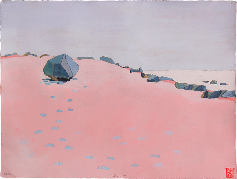 "Quiet , mixed media on paper 11""x15"", 2012"