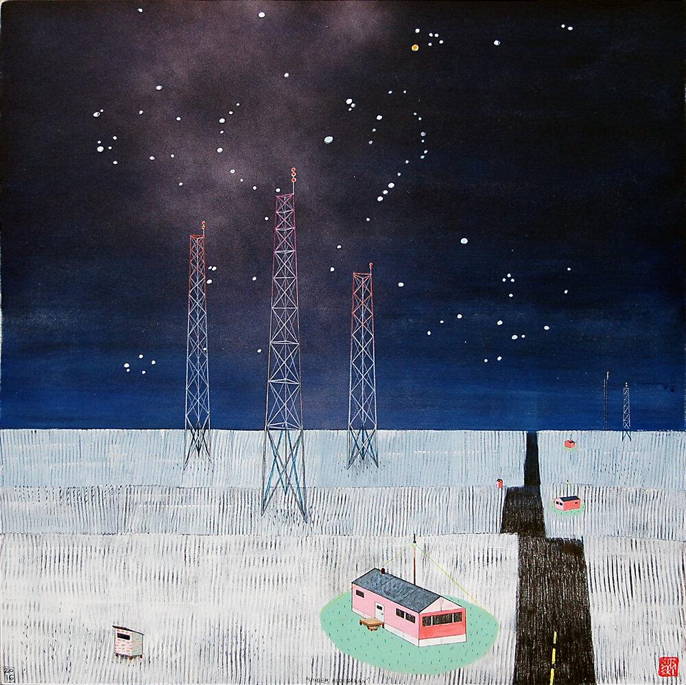 "Under Aldebaran , mixed media on panel 48""x24"", 2016 (sold)"