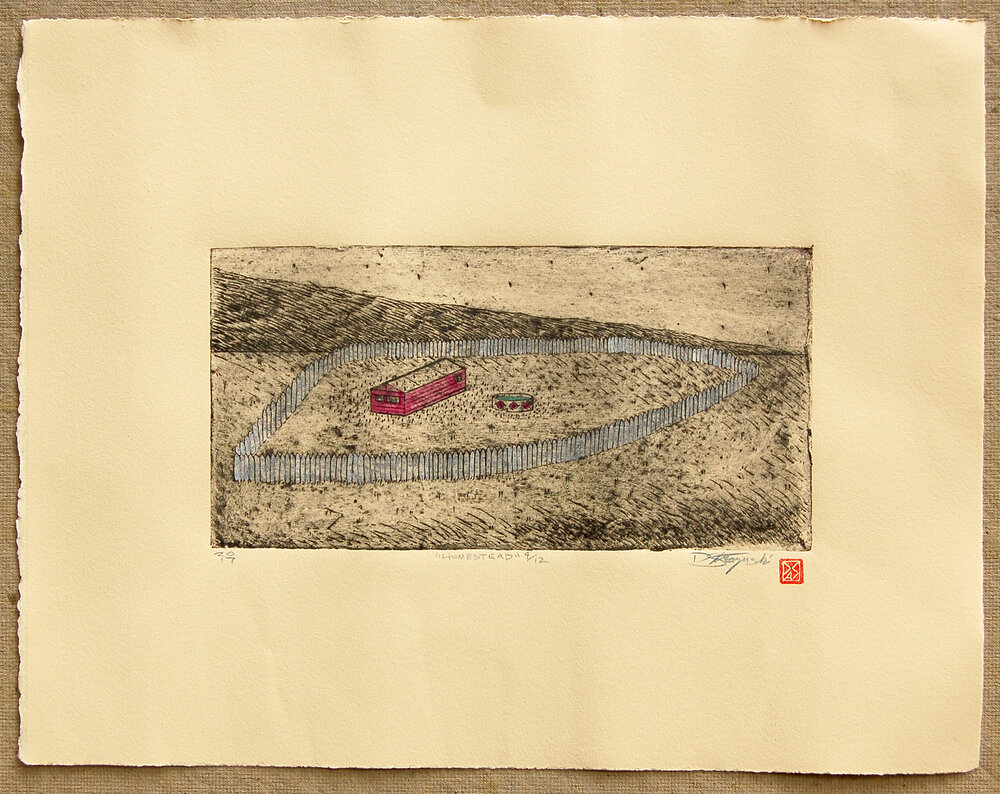 "Homestead , intaglio and hand coloring on BFK, image size 6""x11.5"", paper size 14.5""x18.5"", 2017"
