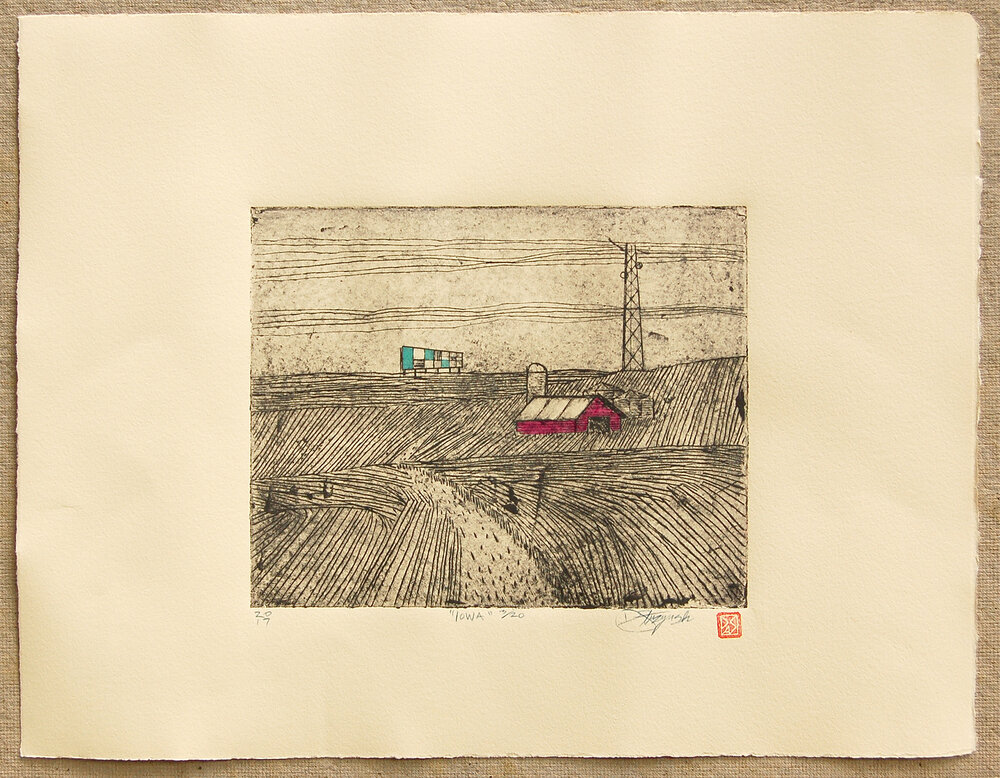 "Iowa , intaglio and hand coloring on BFK, image size 7.75""x9.75"",paper size 14.5""x18.5"", 2017"