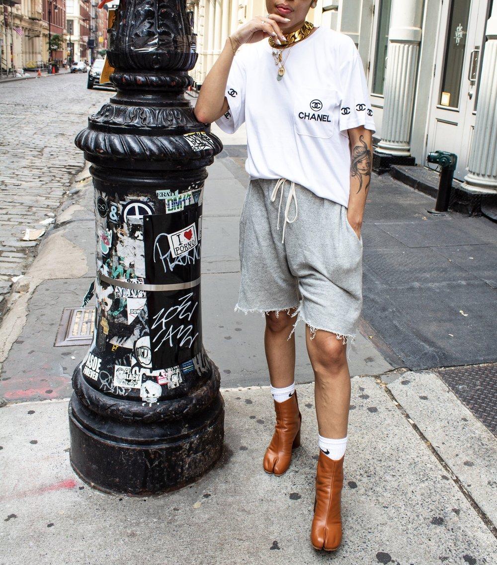R13 harem shorts, Margiela Tabi booties.
