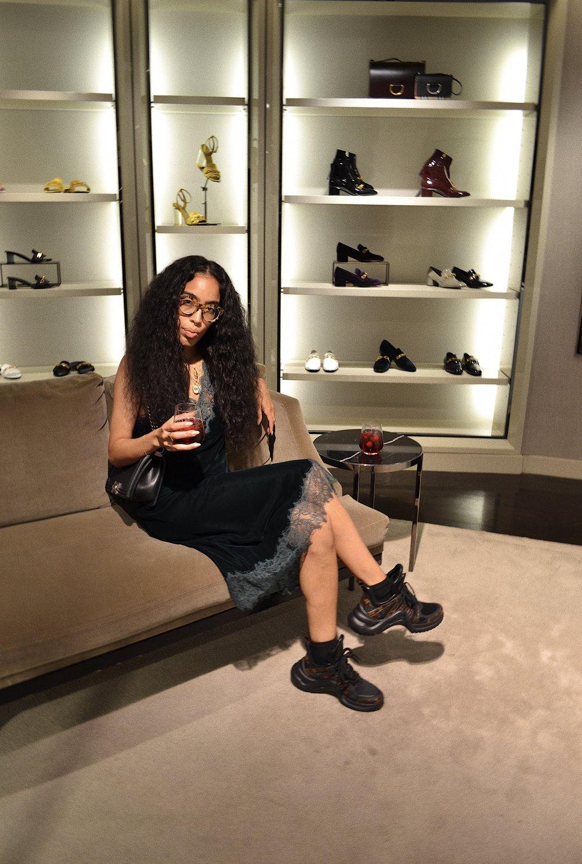 Dress: Zara, Shoe: Louis Vuitton, Bag: Chanel