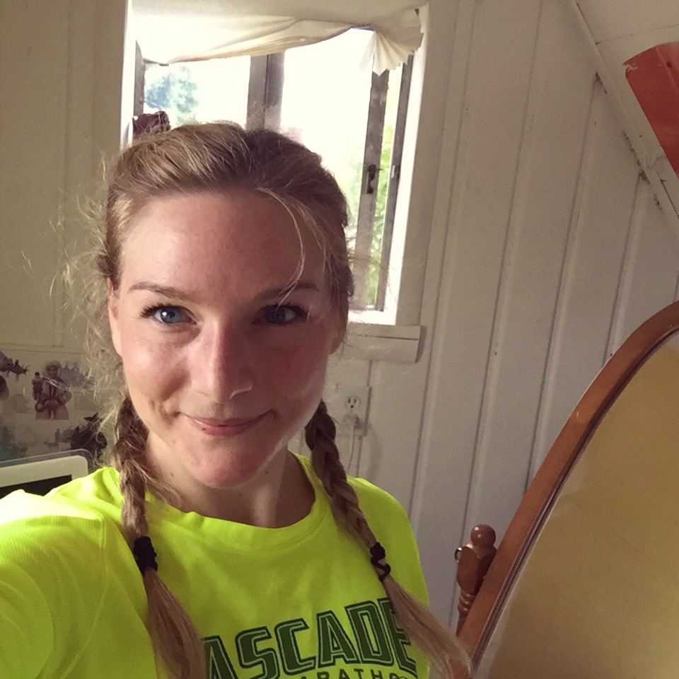 post-run selfie in my fave race shirt and with chocolate on my lip.