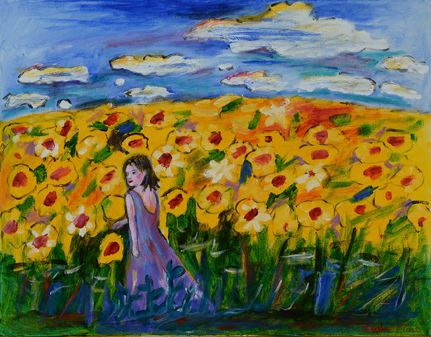 Strolling in the Sunflowers