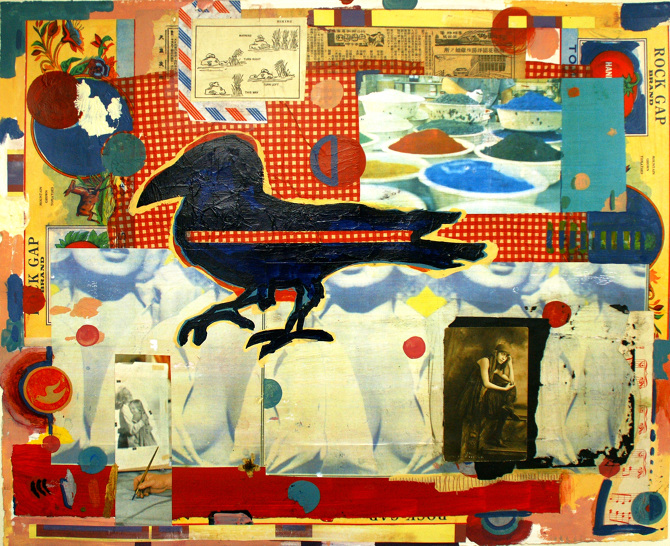Black Bird  collage acrylic paint on paper 22 x 30  2013