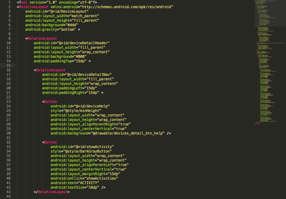 An example of the Android Application XML
