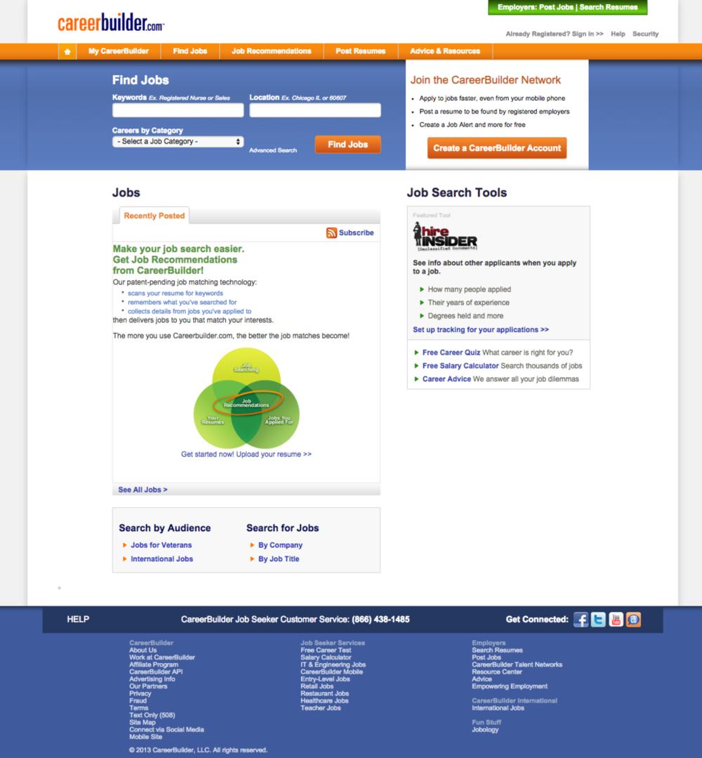Careerbuilder's Homepage from 2010