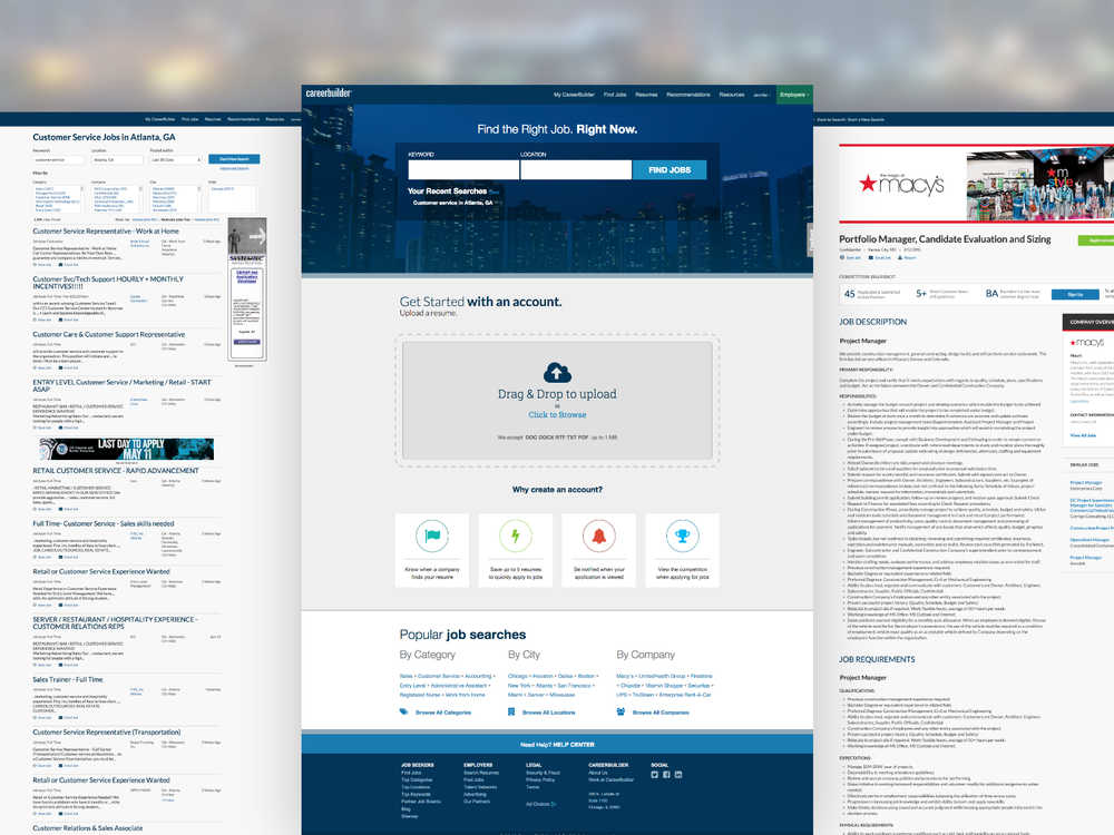 The First Iteration of Careerbuilder's New Look, Feel and Interactions.