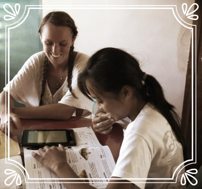 Photo: Melanie McCarthy and student, Tablas Island, Romblon Province, Philippines