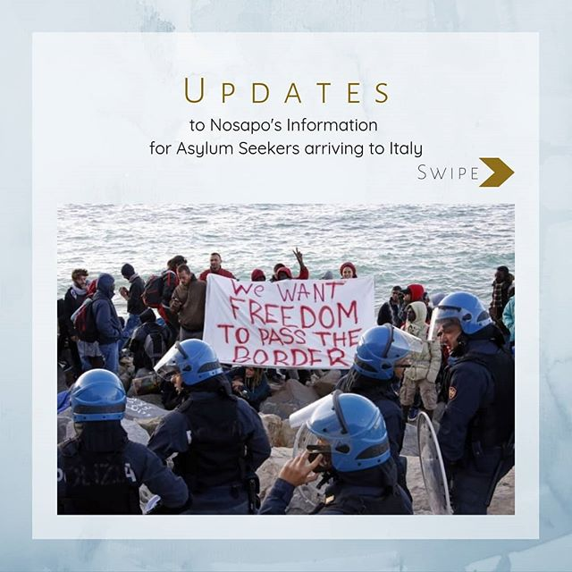 Updates to @nosapo_org Info for asylum seekers in Italy, abbreviated here, read more at www.nosapo.com/Italy [link in bio]. The key to this information being useful is having it constantly updated to reflect policy changes. We are keeping up with what the politicians are doing to create barriers and obstacles in the systems, and trying our best to provide the tools needed to navigate the asylum process safely and successfully. . . . #Salvini #Italy #Sicily #Refugee #Information #Safety #Protection #dignity  #onehumanrace #humanity #nonprofit #nonprofitorganization #ngo #asylum #Asylumrights #Asylumseeker #refugeeswelcome #news #laws #changes #realnews #update #boston #noborders #help #support #supporteachother #life #law #policy