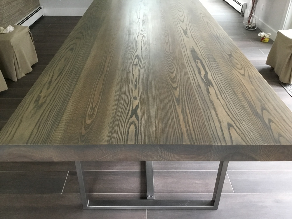 This Table Is Made Of Solid Ash And Stained With A Wash Of Grey. The