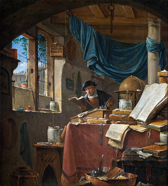 A scholar in his Study    by Thomas Wyck (17th century), Hallwyl Museum. Source:     Wikipedia