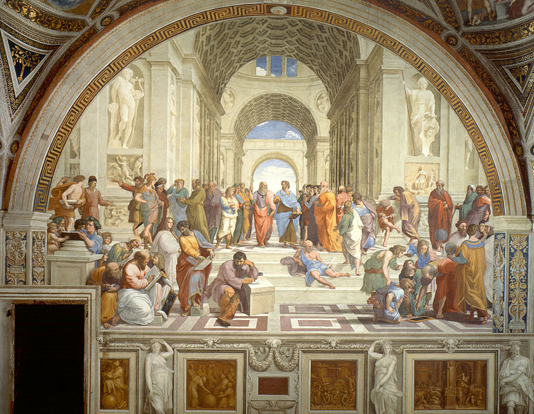 The School of Athens  by Raphael (1511); Stanze di Rafaello, Apostolic Palace, the Vatican. Source:  Wikipedia