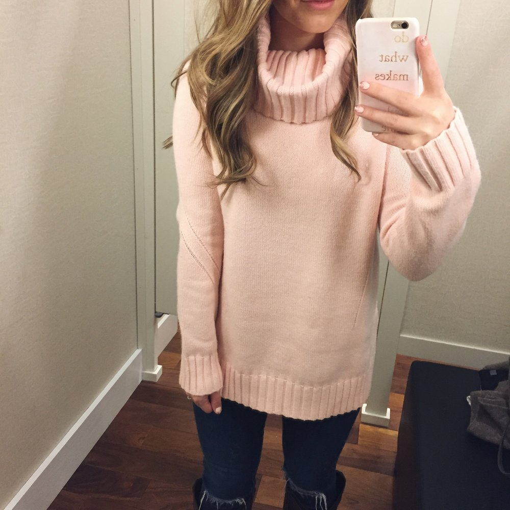 blush turtleneck sweater // pinebarrenbeauty.com