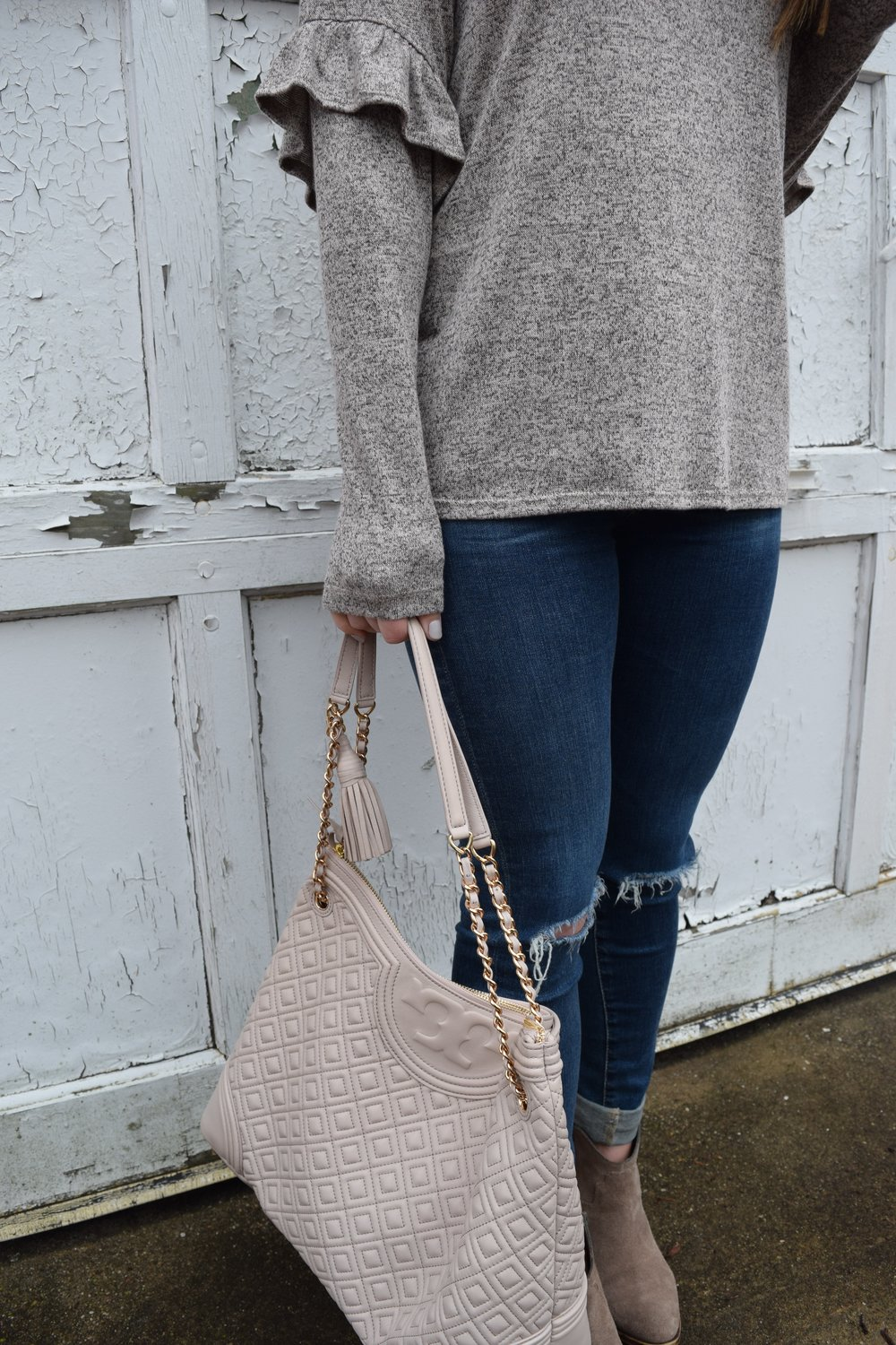 ruffle sleeves + distressed denim + booties