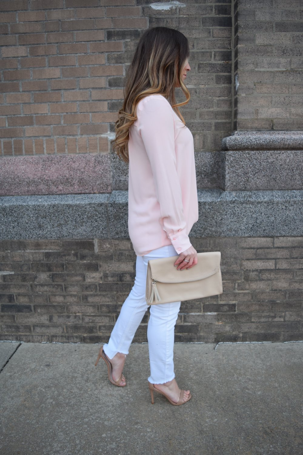 WAYF blush pink chiffon top, Joe's Jeans white denim, valentine's day outfit