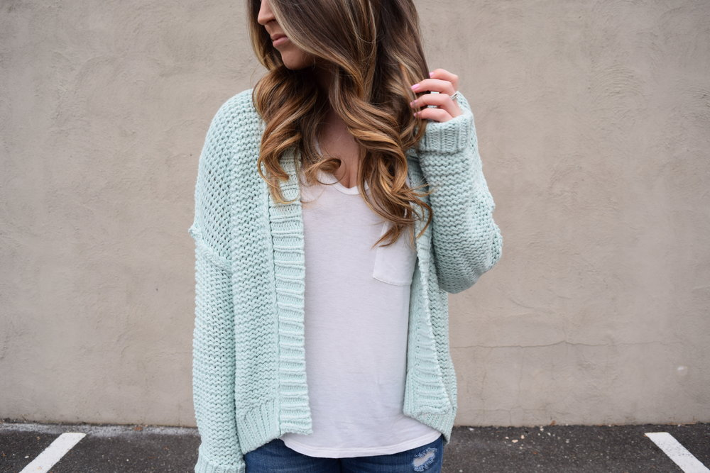 anthropologie mint cardigan, spring transition outfit,