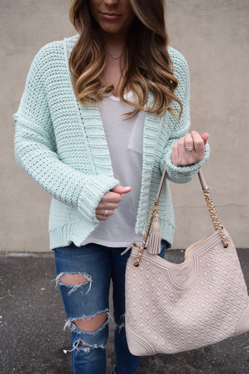 anthropologie mint cardigan, joe's jeans, tory burch bag, spring transition outfit