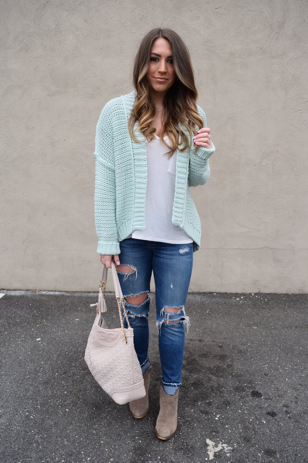 anthropologie mint cardigan, joe's jeans, tory burch bag, lucky brand booties, spring transition outfit