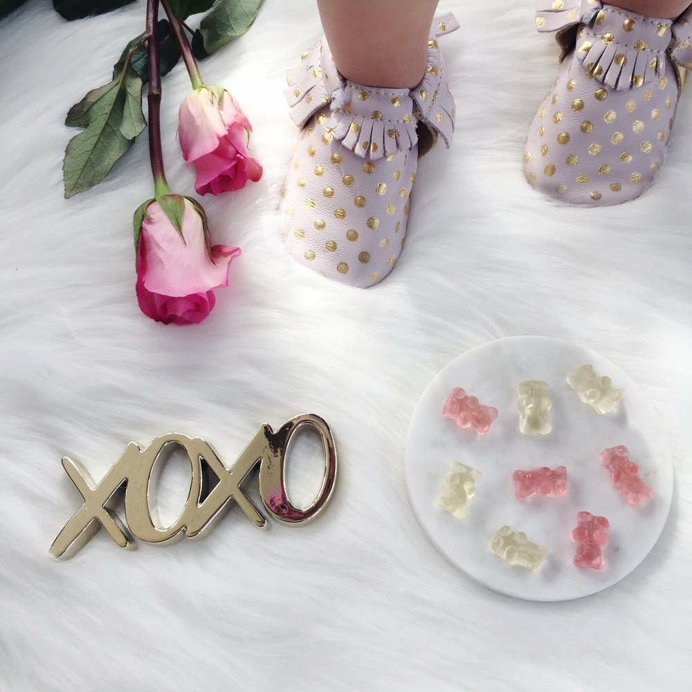valentine's day flat lay, champagne bears, sugarfina