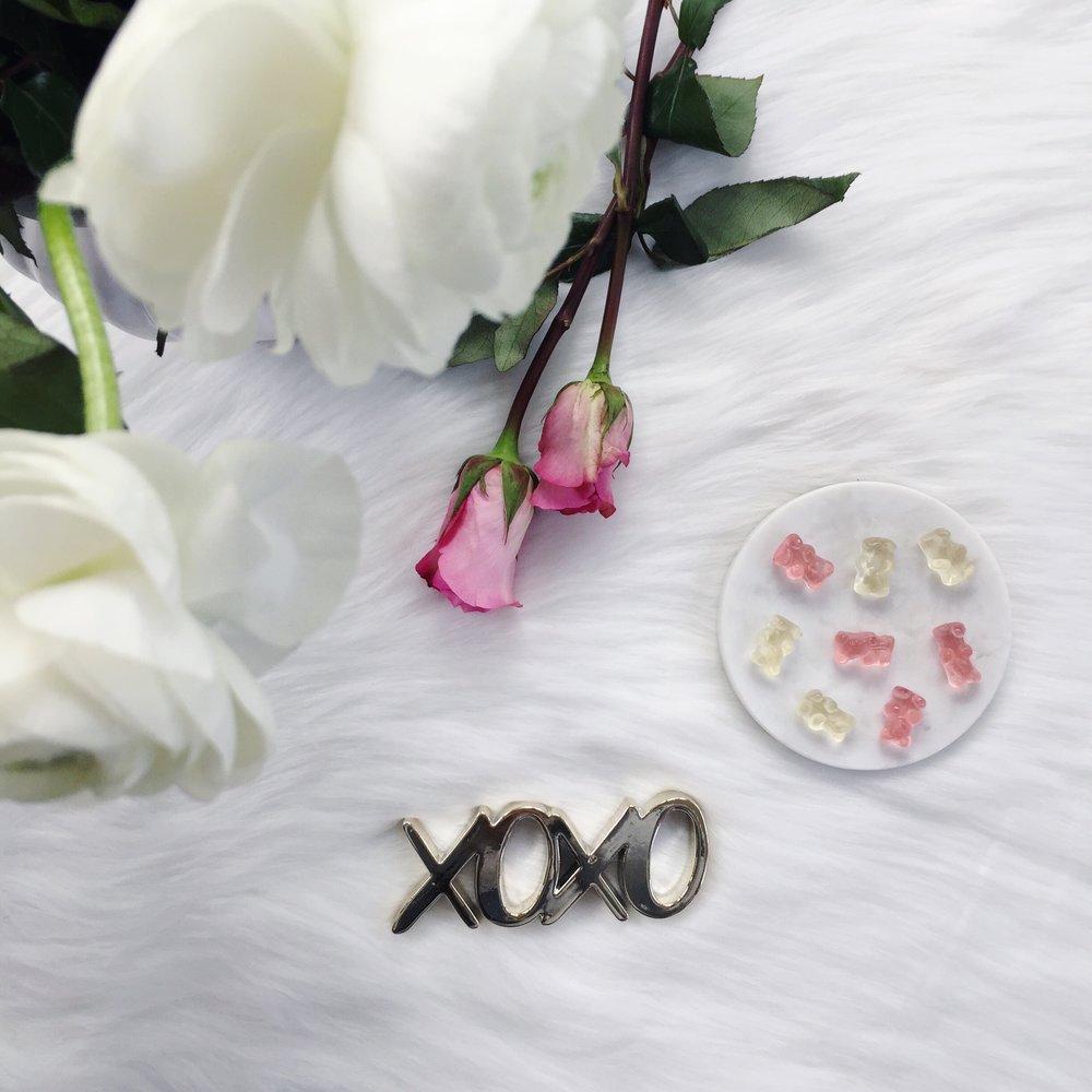valentine's day flat lay, roses, champagne bears, sugarfina