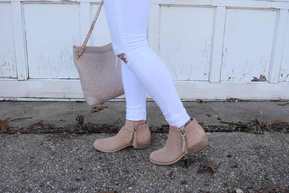 white distressed denim + dolce vita blush booties
