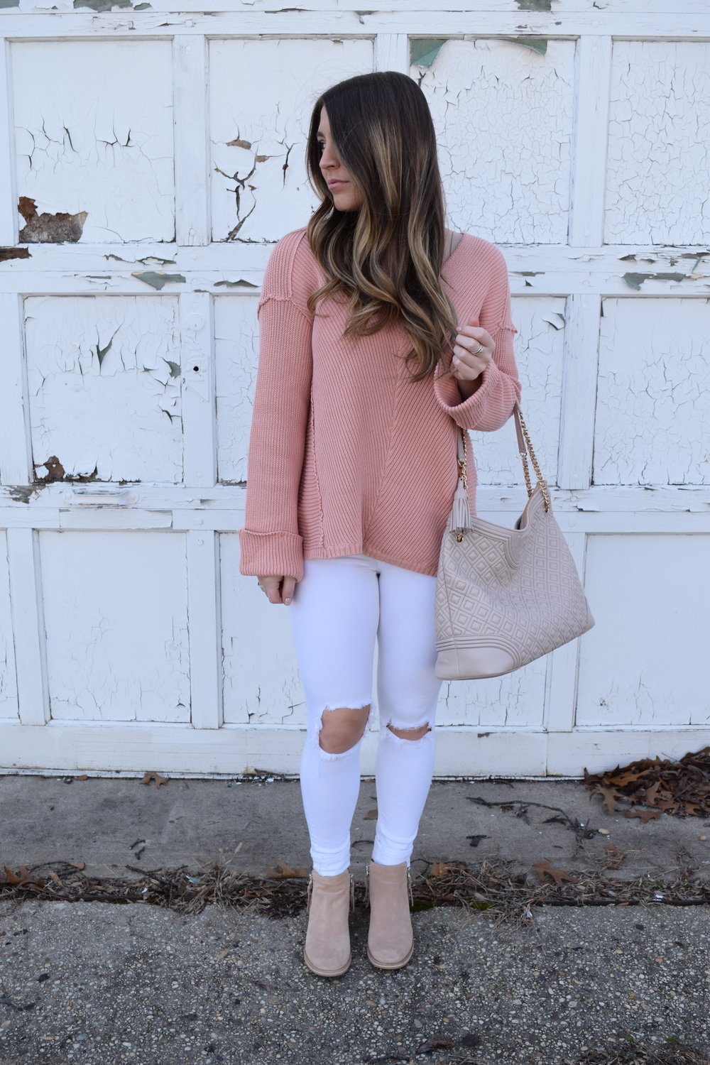 blush sweater + white distressed denim + nude tory burch bag