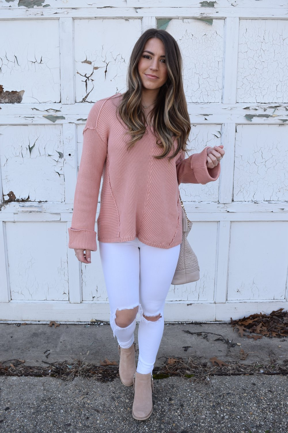 blush sweater + white distressed denim