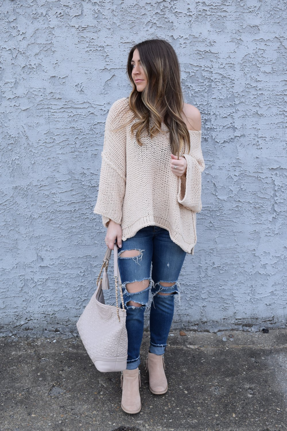 free people sweater, distressed denim, booties