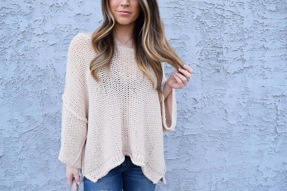 free people slouchy sweater + distressed denim