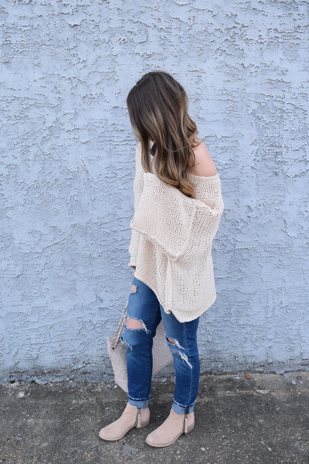 free people slouchy sweater + distressed denim + booties