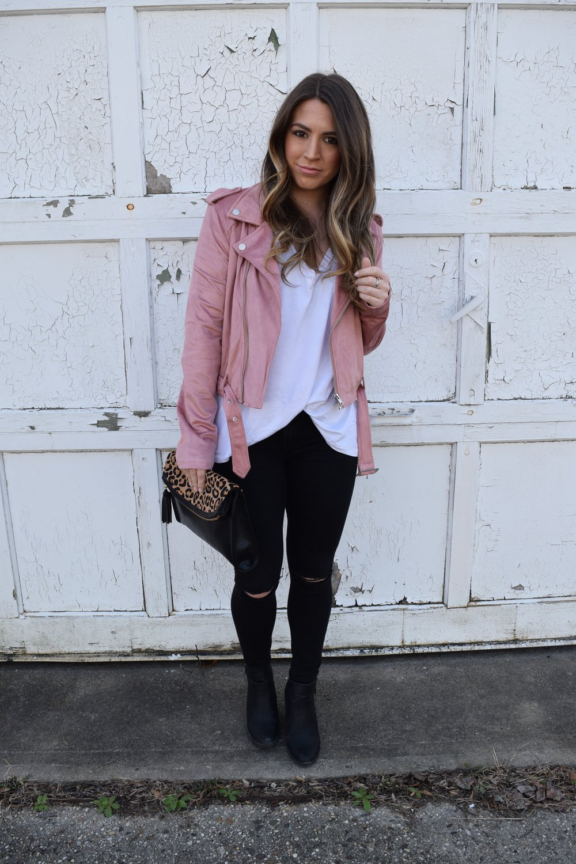 faux suede blush moto jacket / pinebarrenbeauty.com