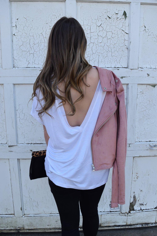 deep v back tee shirt / pinebarrenbeauty.com