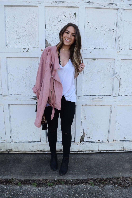 white tee and blush moto jacket / pinebarrenbeauty.com