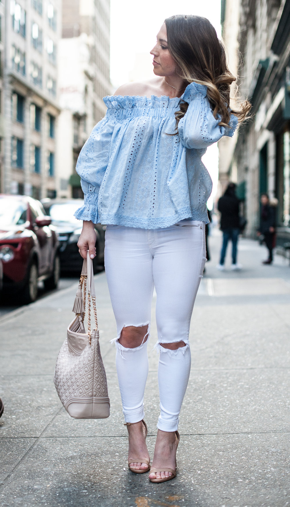 spring outfit idea, off the shoulder top + white denim