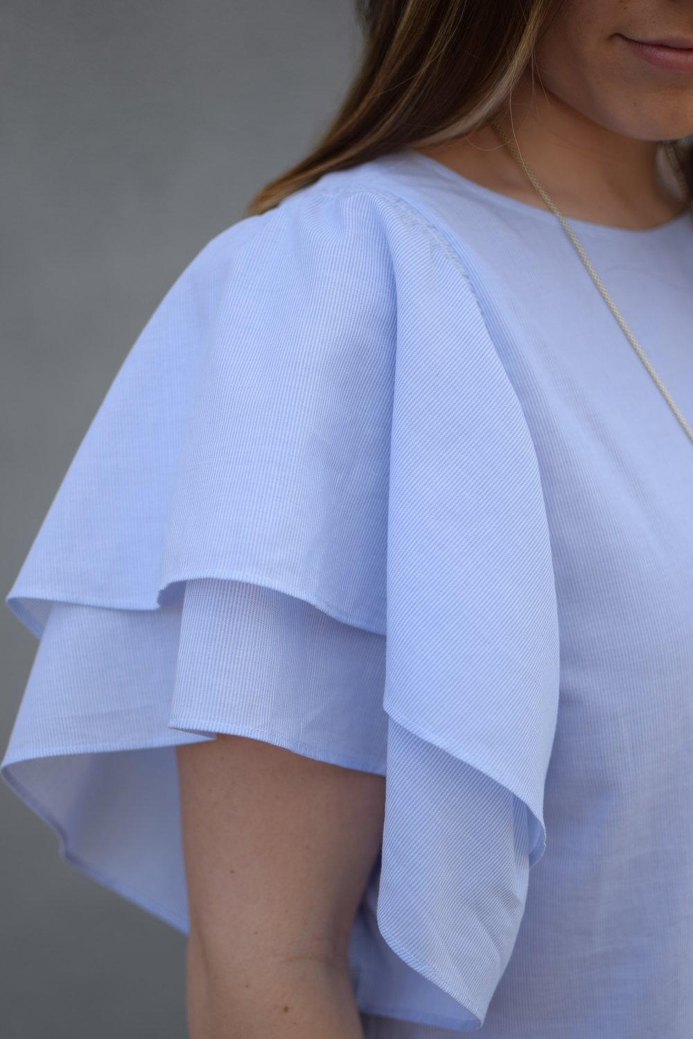 easter outfit idea / ruffle sleeve top