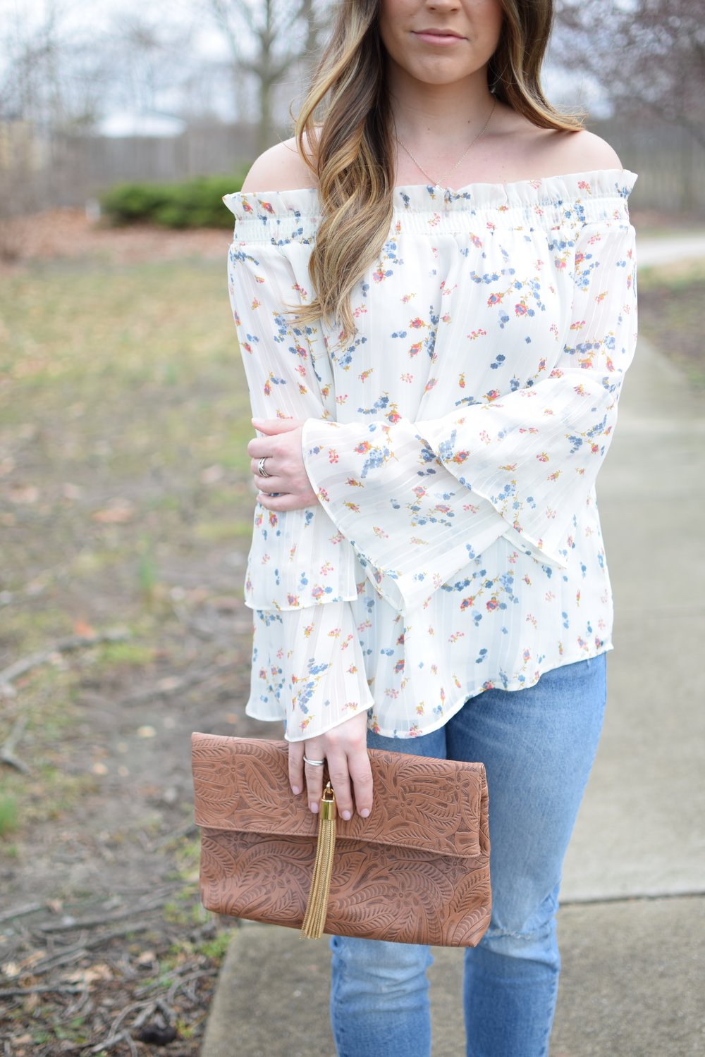 spring outfit idea / floral top / off the shoulder
