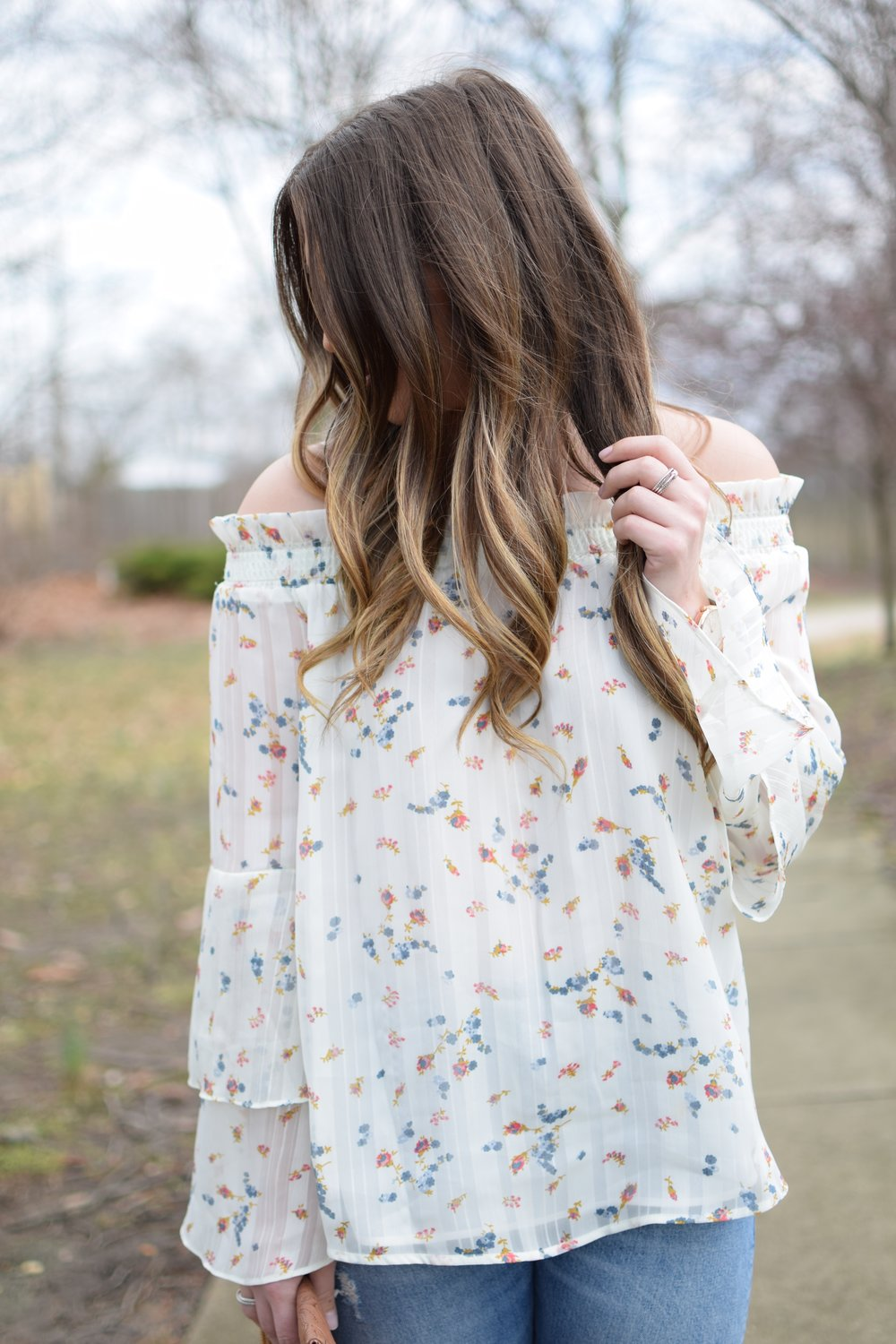 spring outfit idea / floral print top / off the shoulder