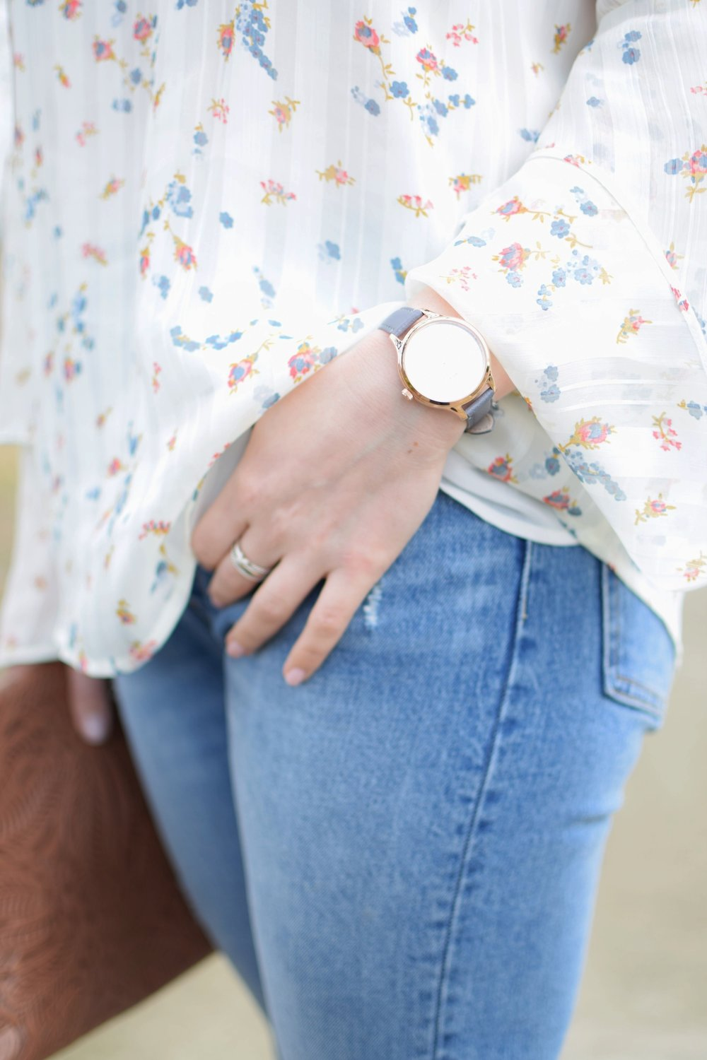 spring outfit idea / floral print top / timex watch