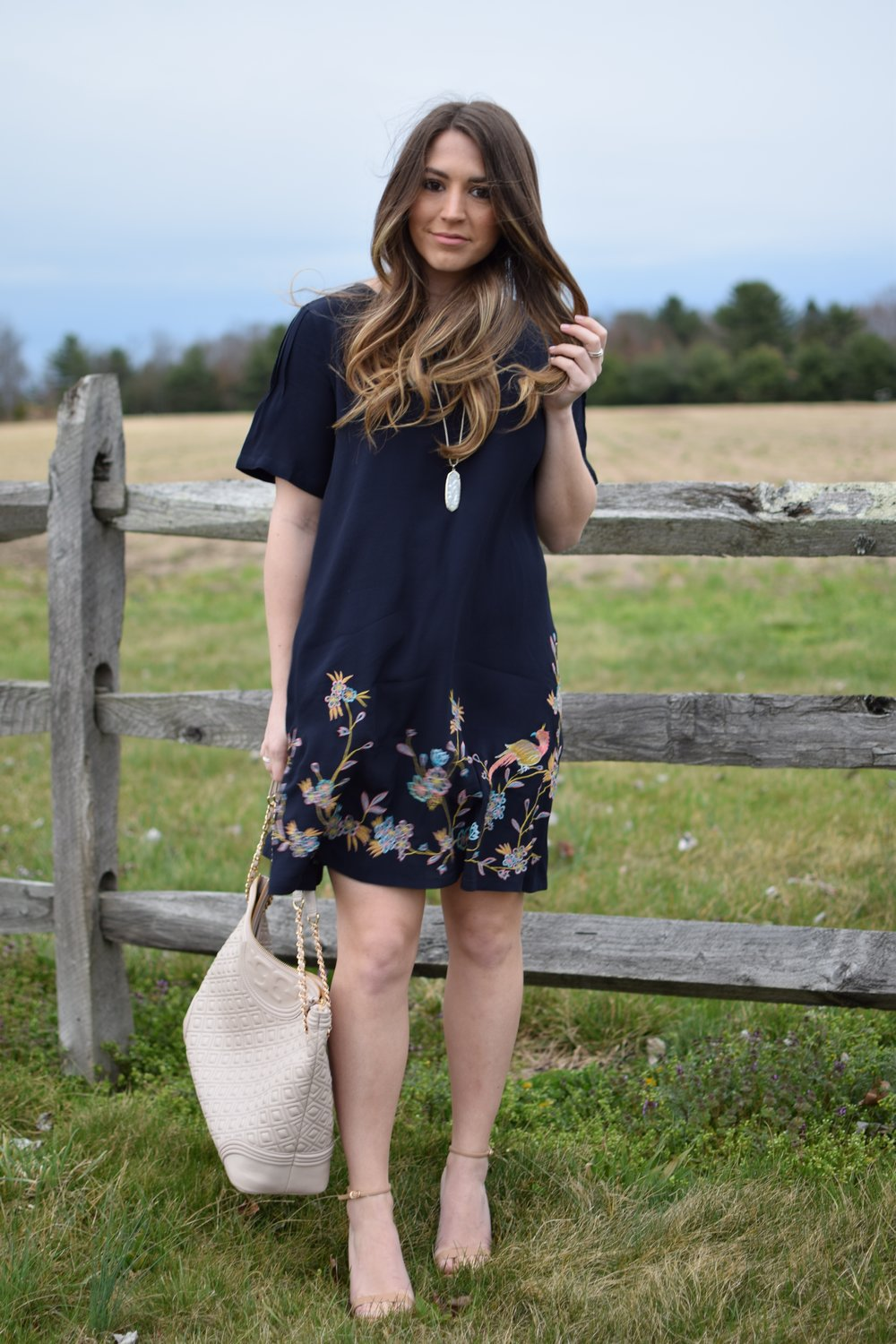 spring outfit idea / easter dress / embroidered dress