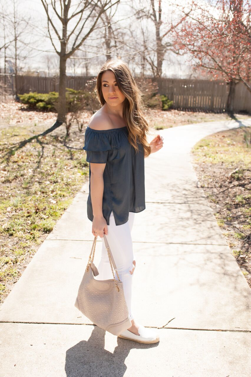 spring outfit idea / off the shoulder top, white denim, espadrilles