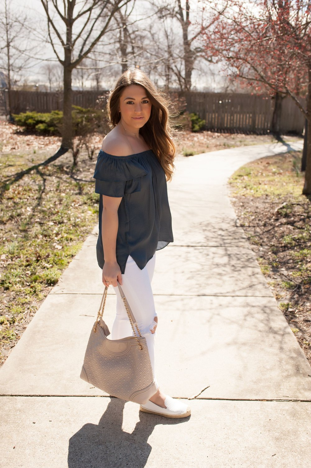 spring outfit idea / off the shoulder top / white denim