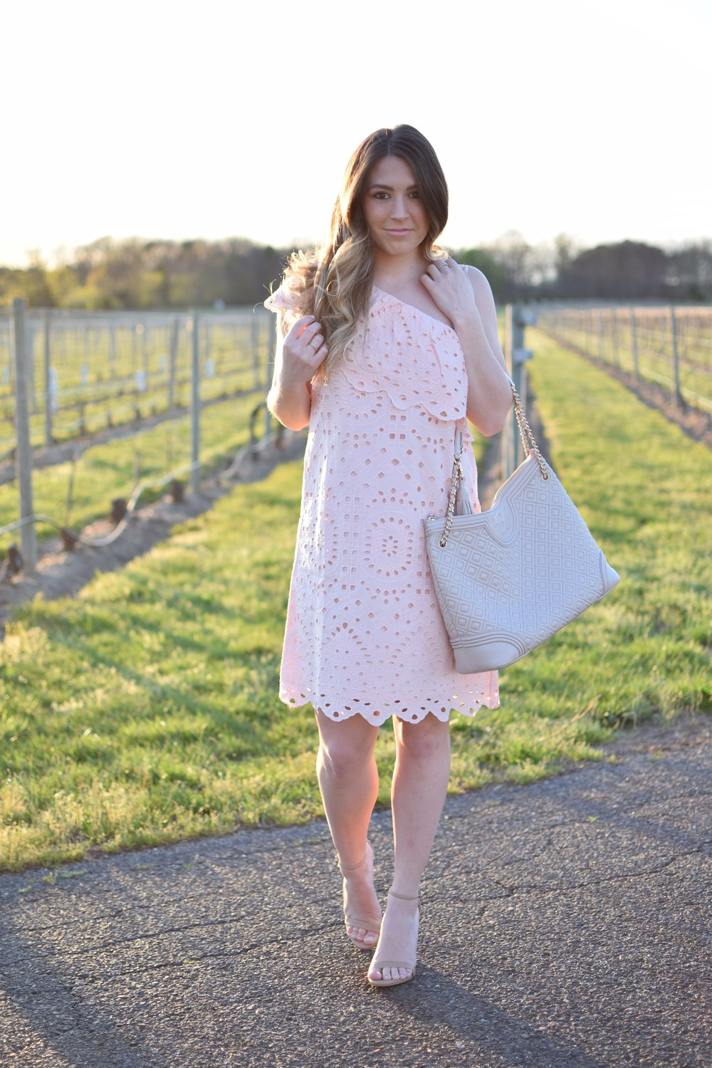 blush one shoulder dress / spring outfit idea / guest of wedding dress idea