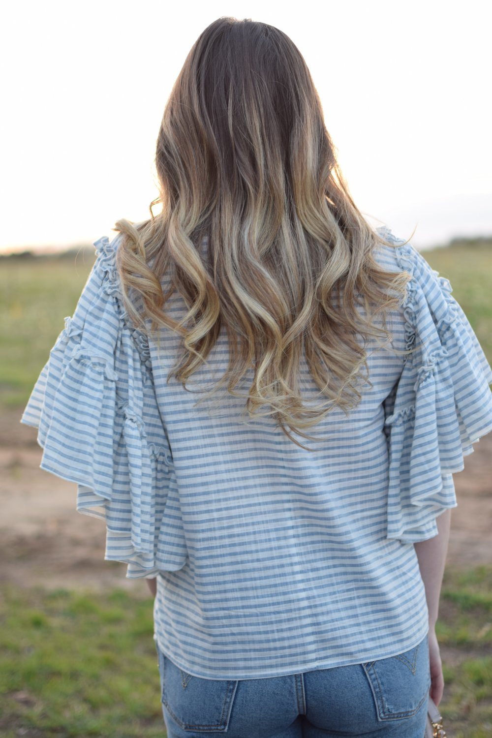 striped ruffle sleeve top / spring outfit idea / hair goals / balayage