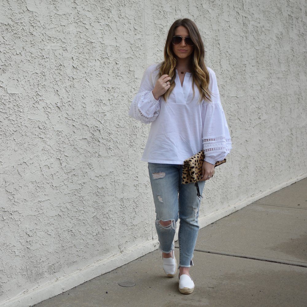 spring outfit idea / spring fashion / white blouse & distressed denim