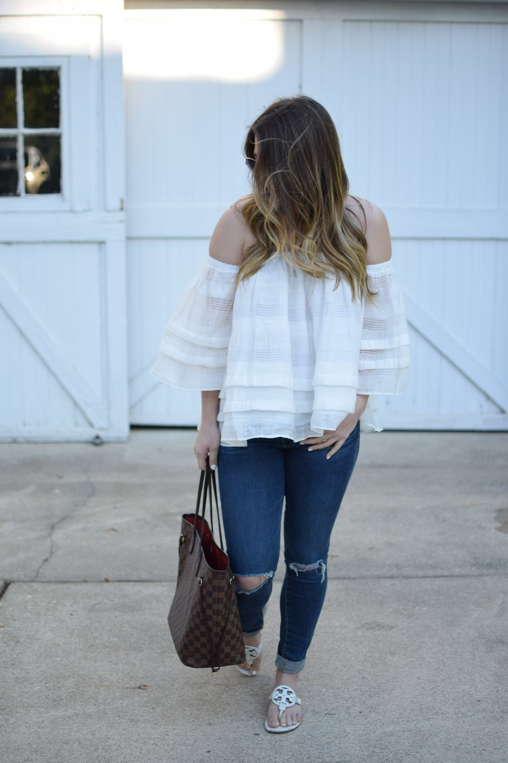 spring fashion / spring outfit idea / ruffle OTS top